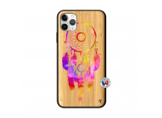 Coque iPhone 11 PRO MAX Dreamcatcher Rainbow Feathers Bois Bamboo