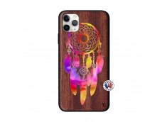 Coque iPhone 11 PRO MAX Dreamcatcher Rainbow Feathers Bois Walnut