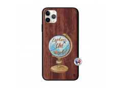 Coque iPhone 11 PRO MAX Globe Trotter Bois Walnut