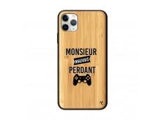 Coque iPhone 11 PRO MAX Monsieur Mauvais Perdant Bois Bamboo