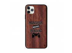 Coque iPhone 11 PRO MAX Monsieur Mauvais Perdant Bois Walnut
