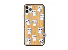 Coque iPhone 11 PRO MAX Petits Chats Bois Bamboo