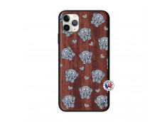Coque iPhone 11 PRO MAX Petits Elephants Bois Walnut