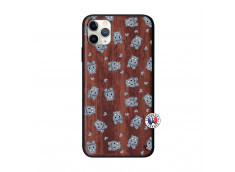 Coque iPhone 11 PRO MAX Petits Hippos Bois Walnut