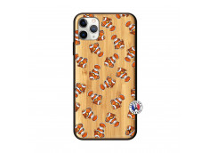 Coque iPhone 11 PRO MAX Petits Poissons Clown Bois Bamboo
