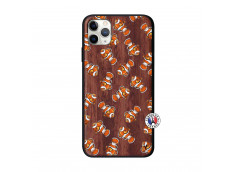 Coque iPhone 11 PRO MAX Petits Poissons Clown Bois Walnut