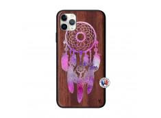 Coque iPhone 11 PRO MAX Purple Dreamcatcher Bois Walnut