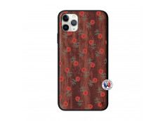 Coque iPhone 11 PRO MAX Rose Pattern Bois Walnut