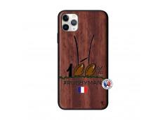 Coque iPhone 11 PRO MAX 100 % Rugbyman Entre les Poteaux Bois Walnut
