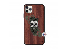 Coque iPhone 11 PRO MAX Skull Hipster Bois Walnut