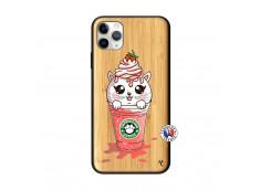 Coque iPhone 11 PRO MAX Smoothie Cat Ice Cream Bois Bamboo