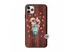 Coque iPhone 11 PRO MAX Puppies Love Bois Walnut
