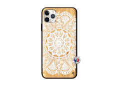 Coque iPhone 11 PRO MAX White Mandala Bois Bamboo