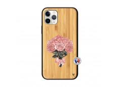 Coque iPhone 11 PRO Bouquet de Roses Bois Bamboo