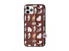Coque iPhone 11 PRO Cat Pattern Bois Walnut