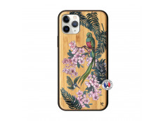 Coque iPhone 11 PRO Flower Birds Bois Bamboo