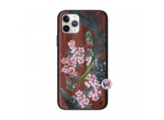 Coque iPhone 11 PRO Flower Birds Bois Walnut