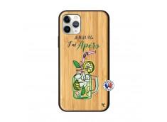 Coque iPhone 11 PRO Je peux pas J'ai Apéro Bois Bamboo