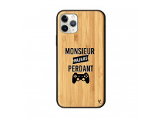 Coque iPhone 11 PRO Monsieur Mauvais Perdant Bois Bamboo