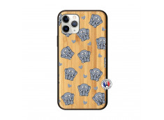 Coque iPhone 11 PRO Petits Elephants Bois Bamboo