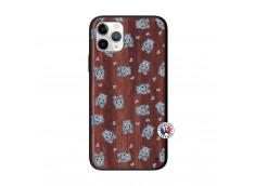 Coque iPhone 11 PRO Petits Hippos Bois Walnut