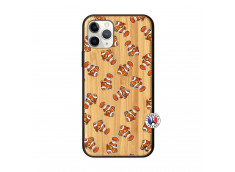 Coque iPhone 11 PRO Petits Poissons Clown Bois Bamboo