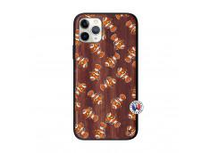 Coque iPhone 11 PRO Petits Poissons Clown Bois Walnut