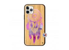 Coque iPhone 11 PRO Purple Dreamcatcher Bois Bamboo