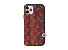 Coque iPhone 11 PRO Rose Pattern Bois Walnut