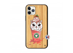 Coque iPhone 11 PRO Smoothie Cat Ice Cream Bois Bamboo
