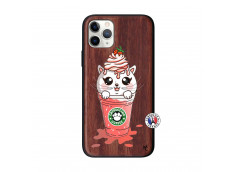 Coque iPhone 11 PRO Smoothie Cat Ice Cream Bois Walnut