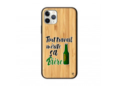 Coque iPhone 11 PRO Tout Travail Merite Sa Biere Bois Bamboo