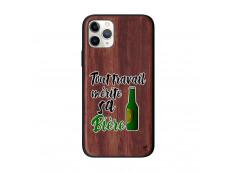 Coque iPhone 11 PRO Tout Travail Merite Sa Biere Bois Walnut