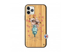 Coque iPhone 11 PRO Puppies Love Bois Bamboo