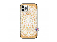 Coque iPhone 11 PRO White Mandala Bois Bamboo