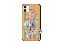 Coque iPhone 11 Blue Painted Dreamcatcher Bois Bamboo