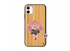 Coque iPhone 11 Bouquet de Roses Bois Bamboo