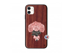 Coque iPhone 11 Bouquet de Roses Bois Walnut