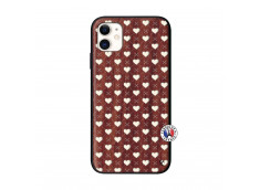 Coque iPhone 11 Little Hearts Bois Walnut