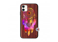 Coque iPhone 11 Dreamcatcher Rainbow Feathers Bois Walnut