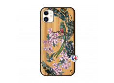 Coque iPhone 11 Flower Birds Bois Bamboo