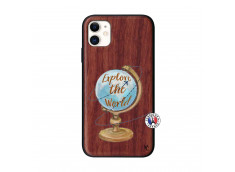 Coque iPhone 11 Globe Trotter Bois Walnut