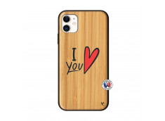 Coque iPhone 11 I Love You Bois Bamboo