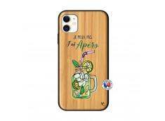Coque iPhone 11 Je peux pas J'ai Apéro Bois Bamboo