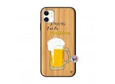 Coque iPhone 11 Je peux pas J'ai la Pression Bois Bamboo