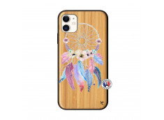 Coque iPhone 11 Multicolor Watercolor Floral Dreamcatcher Bois Bamboo