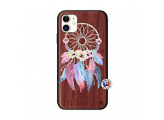 Coque iPhone 11 Multicolor Watercolor Floral Dreamcatcher Bois Walnut