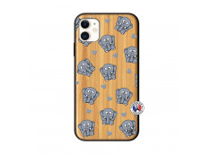 Coque iPhone 11 Petits Elephants Bois Bamboo