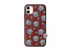Coque iPhone 11 Petits Elephants Bois Walnut