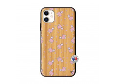 Coque iPhone 11 Petits Moutons Bois Bamboo
